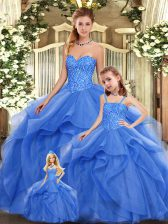 Classical Blue Sweetheart Lace Up Beading and Ruffles Sweet 16 Quinceanera Dress Sleeveless