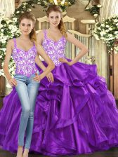 Straps Sleeveless Tulle Quinceanera Gown Beading and Ruffles Lace Up