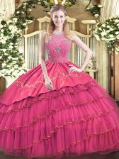 Hot Pink Ball Gowns Halter Top Sleeveless Satin and Tulle Floor Length Zipper Beading and Embroidery and Ruffled Layers 15 Quinceanera Dress