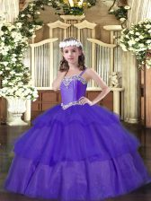 Attractive Purple Straps Neckline Beading and Ruffled Layers Little Girls Pageant Dress Wholesale Sleeveless Lace Up