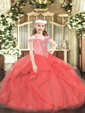 Coral Red Sleeveless Beading and Ruffles Floor Length Little Girls Pageant Dress