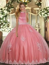 Coral Red Backless Halter Top Beading and Appliques 15th Birthday Dress Tulle Sleeveless