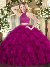 Ideal Floor Length Ball Gowns Sleeveless Fuchsia Sweet 16 Dresses Backless