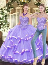 Lavender Sleeveless Organza Zipper Quinceanera Dress for Military Ball and Sweet 16 and Quinceanera