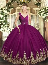 Discount Floor Length Fuchsia Sweet 16 Dresses Tulle Sleeveless Beading and Appliques and Ruching