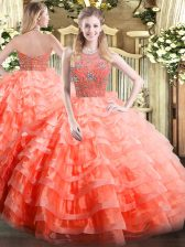 Halter Top Sleeveless Organza Quince Ball Gowns Beading and Ruffled Layers Zipper