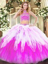 Stylish Multi-color Backless Vestidos de Quinceanera Beading and Ruffles Sleeveless Floor Length