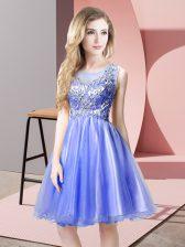 Superior Blue Sleeveless Knee Length Beading Zipper Prom Dress