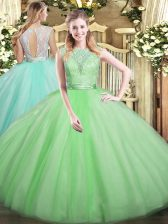 Apple Green Ball Gowns Tulle Scoop Sleeveless Lace Floor Length Backless Quinceanera Dresses