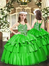 Sleeveless Organza Floor Length Lace Up Pageant Gowns For Girls in Green with Beading and Ruffled Layers