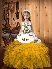 Fancy Gold Sleeveless Embroidery and Ruffles Floor Length Pageant Gowns For Girls