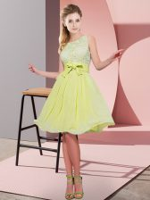 Yellow Green Sleeveless Chiffon Side Zipper Quinceanera Court of Honor Dress for Prom and Party