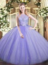 High End Scoop Sleeveless Tulle Quince Ball Gowns Lace Backless