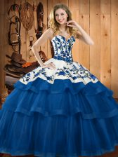 Lace Up Vestidos de Quinceanera Blue for Military Ball and Sweet 16 and Quinceanera with Embroidery Sweep Train