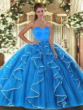 Colorful Sleeveless Beading and Ruffles Lace Up 15th Birthday Dress