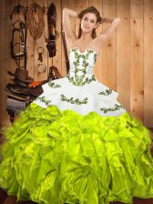 Wonderful Lace Up Strapless Embroidery and Ruffles Quinceanera Dresses Satin and Organza Sleeveless