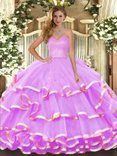 Lilac Sleeveless Organza Lace Up Quinceanera Dress for Military Ball and Sweet 16 and Quinceanera