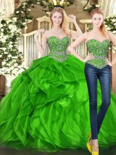Wonderful Green Ball Gowns Tulle Sweetheart Sleeveless Beading and Ruffles Floor Length Lace Up 15 Quinceanera Dress