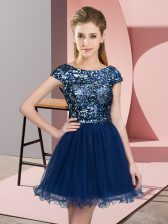 Cap Sleeves Tulle Mini Length Zipper Dama Dress in Navy Blue with Sequins