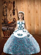 Multi-color Ball Gowns Embroidery Little Girls Pageant Dress Lace Up Fabric With Rolling Flowers Sleeveless Floor Length