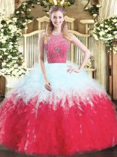 Dynamic Ball Gowns 15th Birthday Dress Multi-color Halter Top Tulle Sleeveless Floor Length Zipper