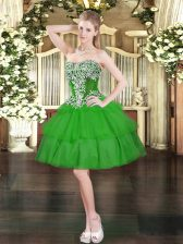 On Sale Green Ball Gowns Sweetheart Sleeveless Organza Mini Length Lace Up Beading and Ruffled Layers Prom Dresses