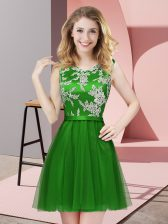 Most Popular Green A-line Lace Quinceanera Dama Dress Side Zipper Tulle Sleeveless Mini Length