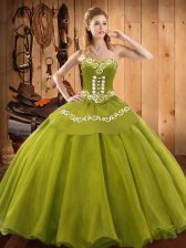 Low Price Olive Green Ball Gowns Ruffles Quinceanera Dresses Lace Up Tulle Sleeveless Floor Length