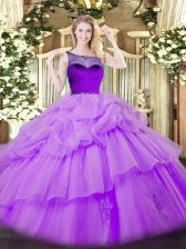 Comfortable Lavender Sleeveless Floor Length Beading and Pick Ups Zipper Quinceanera Gown