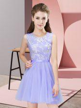 Mini Length Lavender Dama Dress Scoop Sleeveless Side Zipper