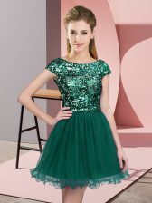 Discount Cap Sleeves Mini Length Sequins Zipper Court Dresses for Sweet 16 with Turquoise