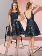 Free and Easy Navy Blue Zipper Scoop Sequins Dama Dress Sequined Sleeveless