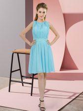 Aqua Blue Sleeveless Sequins Knee Length Dama Dress