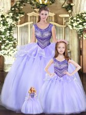 Lavender Ball Gowns Beading and Ruching Ball Gown Prom Dress Lace Up Tulle Sleeveless Floor Length