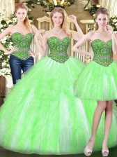 Great Beading and Ruffles Sweet 16 Dresses Lace Up Sleeveless Floor Length