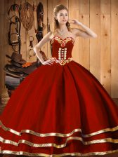 Sleeveless Lace Up Floor Length Embroidery and Bowknot Ball Gown Prom Dress