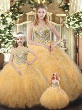 Champagne Sleeveless Beading and Ruffles Floor Length Vestidos de Quinceanera