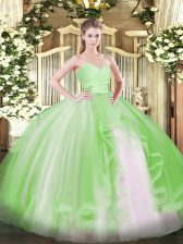 Best Selling Sweetheart Sleeveless Tulle Quinceanera Dresses Ruffles Lace Up