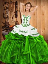 Modest Ball Gowns 15th Birthday Dress Strapless Satin and Organza Sleeveless Floor Length Lace Up