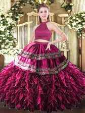 Flare Fuchsia Sleeveless Satin and Organza Backless 15th Birthday Dress for Military Ball and Sweet 16 and Quinceanera