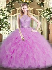 Lilac Quinceanera Dress Military Ball and Sweet 16 and Quinceanera with Beading and Ruffles Scoop Sleeveless Backless