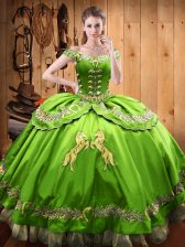 V-neck Sleeveless Satin and Organza Quince Ball Gowns Beading and Embroidery Lace Up