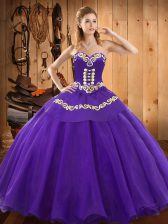 Fitting Ball Gowns 15th Birthday Dress Purple Sweetheart Satin and Tulle Sleeveless Floor Length Lace Up