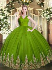 Elegant Olive Green Ball Gowns V-neck Sleeveless Tulle Floor Length Zipper Appliques Ball Gown Prom Dress