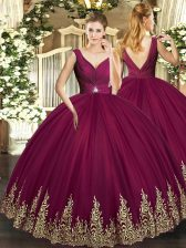 Burgundy Ball Gowns V-neck Sleeveless Tulle Floor Length Backless Beading and Appliques and Ruching Quinceanera Dresses