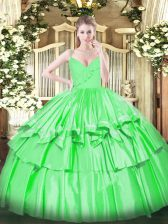 Sleeveless Taffeta Floor Length Zipper Quince Ball Gowns in Green with Ruffled Layers