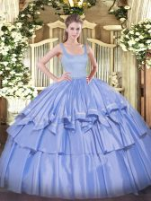 Perfect Floor Length Zipper Quince Ball Gowns Blue for Military Ball and Sweet 16 and Quinceanera with Beading and Ruffled Layers