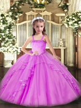 Charming Lilac Straps Neckline Appliques and Ruffles Pageant Dresses Sleeveless Lace Up