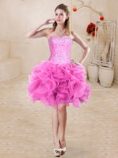 Fabulous Organza Sweetheart Sleeveless Lace Up Beading and Ruffles Prom Party Dress in Rose Pink