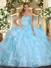 Cute Organza Sleeveless Floor Length Quinceanera Gown and Ruffles